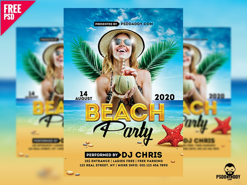 Beach Party Flyer Free PSD by Mohammed Asif Dribbble