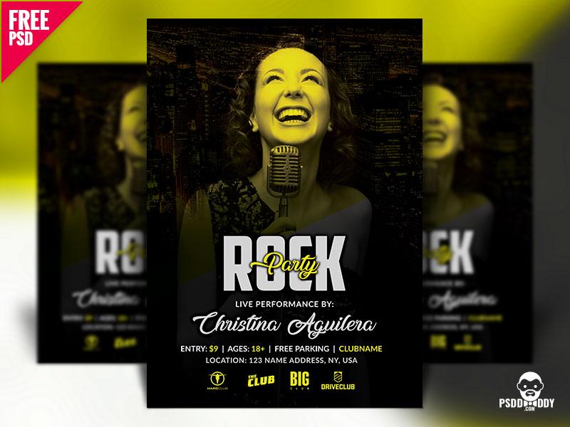 Rock Party Flyer Design PSD psd flyer psd party night party flyer free psd freebie disco flyer creative flyer concert club a4 flyer