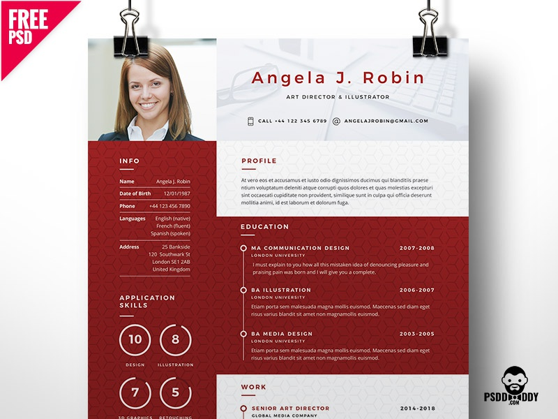 professional free resume template psd by mohammed asif dribbble