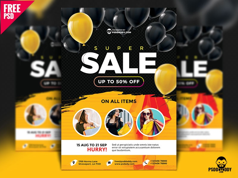 Super Sale Flyer Design Free PSD by Mohammed Asif on Dribbble