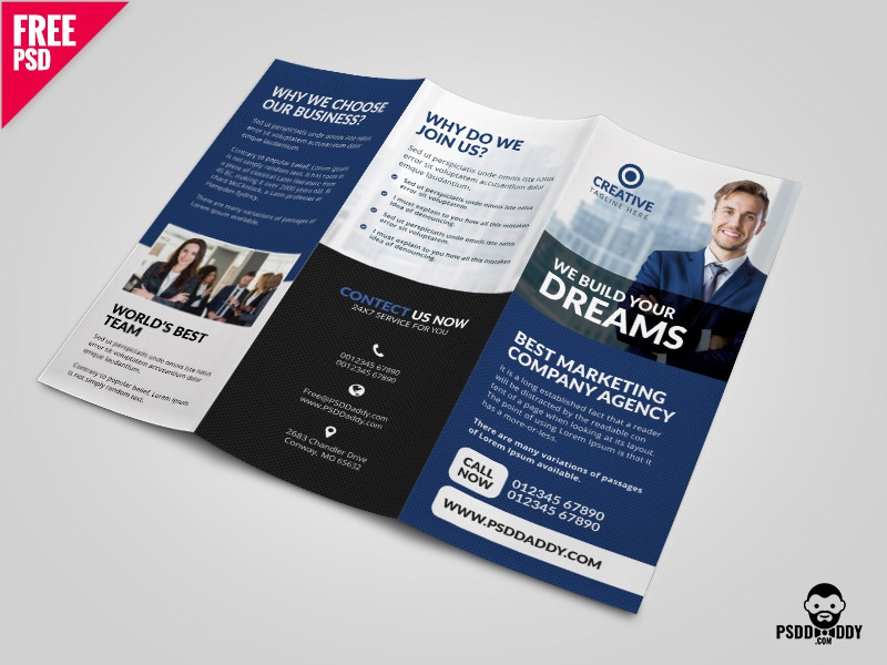 professional corporate tri fold brochure free psd template by