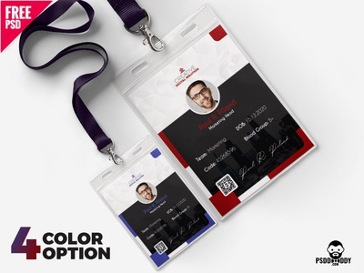 Office ID Cards Design Free PSD Set watchman i card duty card design freebie download psd design i card design identity card office card icard