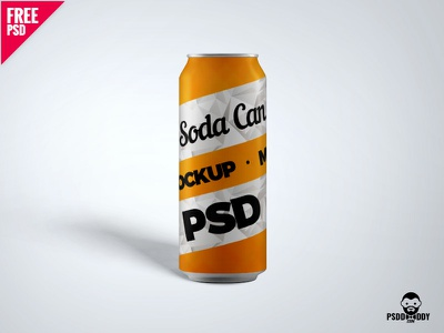 Soda Can PSD Mockup freebie clean design free psd softdrink can mockup water can mockup psd mockup soda can can