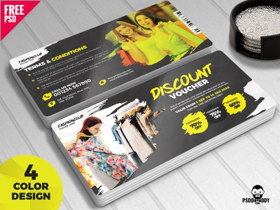 Discount Voucher Free PSD Bundle psd gift coupon gift voucher gift card free template free psd freebie free coupon psd free e-commerce discount discount card coupon