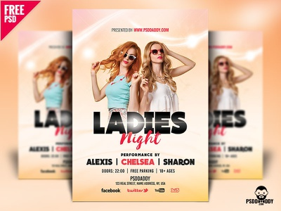 Ladies Night Flyer Design Free PSD freebie ladies night template psd photoshop party nightclub graphic flyer templates flyer design creativeflyers creative club