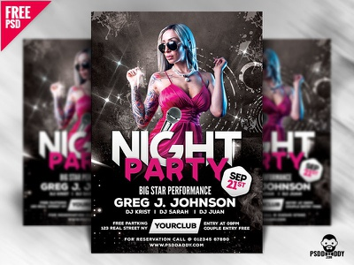 Night Party Flyer Design Free PSD flyer design night club mix themed party night music event club flyers dj cocktail pink club