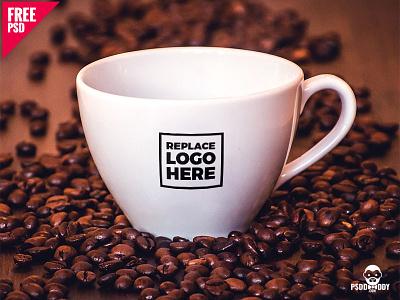 Cappuccino Mug Mockup Free PSD coffee mug psd products poster pastel mockups mockup minimul design cup