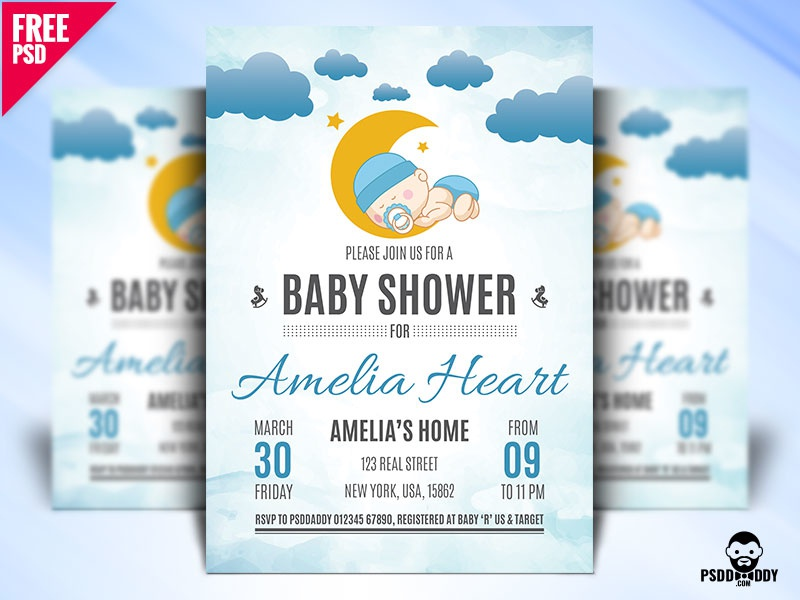 Baby Shower Flyer Design PSD Toys Rubber Duck Party Newborn Invitation Infant Girl Children Celebration