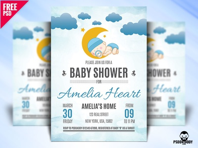 Baby Shower Flyer Design PSD toys rubber duck party newborn invitation infant girl children celebration baby shower baby announcement