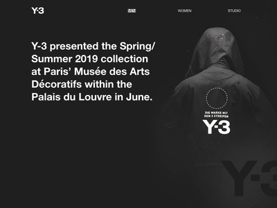 Y3 01 website graphic design web design figma web-design clean web fashion grid minimal fullsize