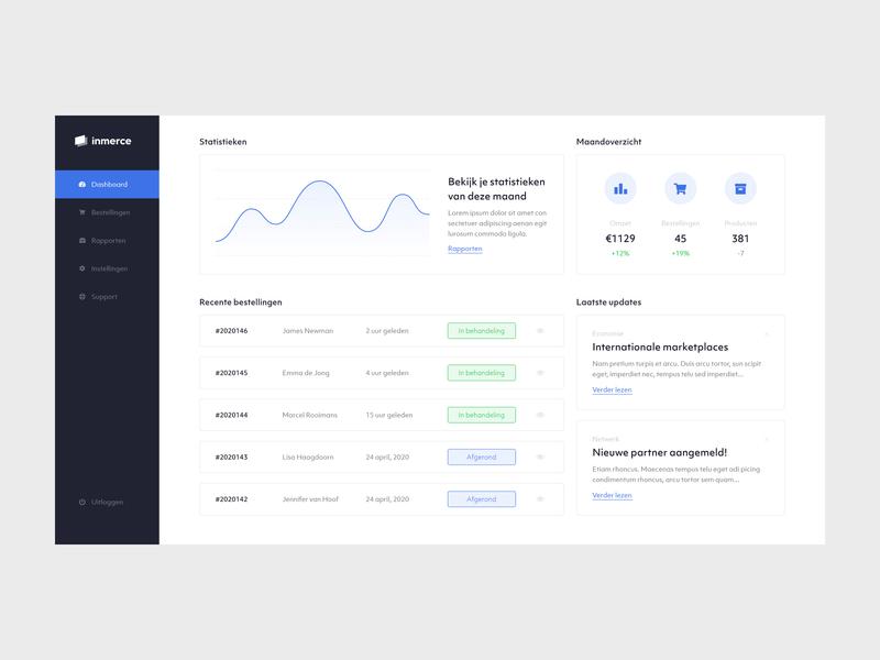 Inmerce - Dashboard statistics dashboard design dashboard app webdesign web ux ui minimal flat design