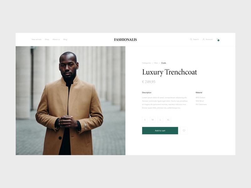 Fashionalis - Product Page fashion store fashion product page ecommerce design ecommerce webshop website webdesign web ux ui minimal design