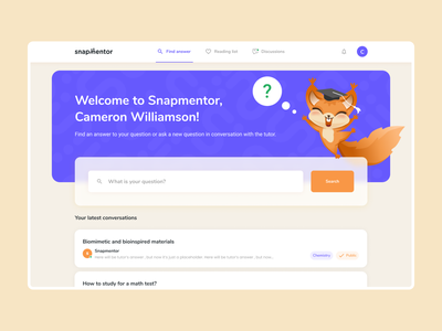 Educational platform for students home user interface uiux gamification playfull color squirrel school tutor teacher student learning product design mentalstack mascot illustration education dashboard