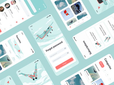 Skydiving mobile app dashboard ui illustrations clouds paragliding parachute categories search communication platform jumps skydiving profile uiux product design mobile app mentalstack