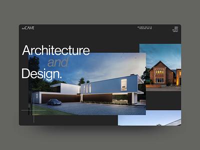 THE CAVE motion design typography interface portfolio grid building minimalism clean architect architecture animation minimal website interactive ux web design digital ui design outpost