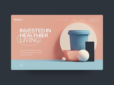 HumanCo Concept 3d modeling health wellbeing wellness 3dart 3d typography agency website interactive ux web design digital ui design outpost