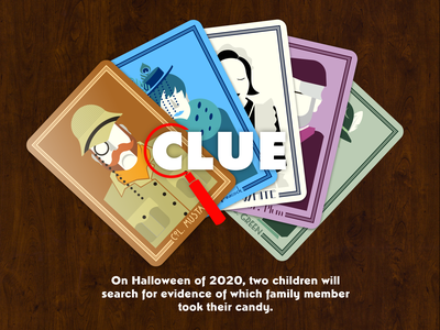 Clue halloween board game card game cards clue