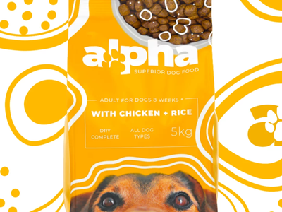 ALPHA Superior Dog Food product logo branding design brand identity brand design branding brand