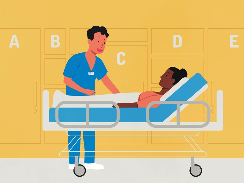 Checkin on the patient bed woman man treatment hospital nurse patient