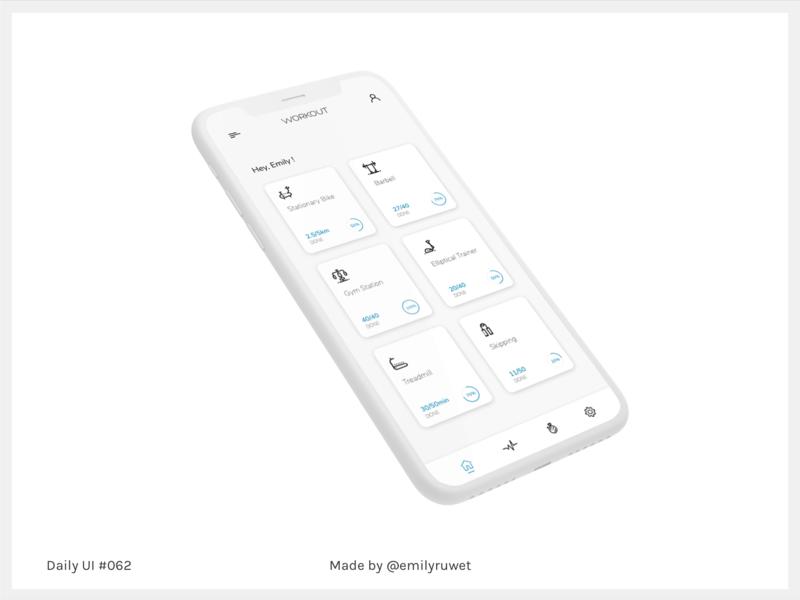 Dailyui 62 workout iphonex mockup adobe photoshop sketch app uxdesign uidesign dailyui