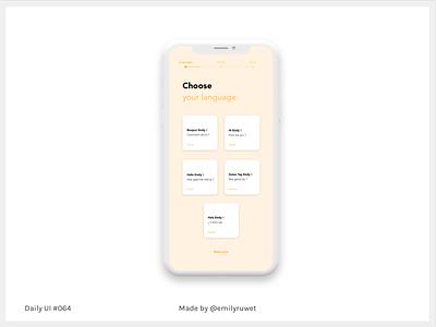 Dailyui 64 language iphonex mockup adobe photoshop sketch app uxdesign uidesign dailyui