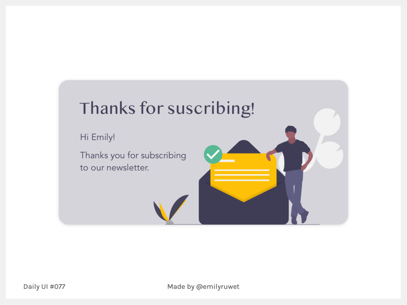 Dailyui 77 subscribe thank you design sketch app uxdesign uidesign dailyui