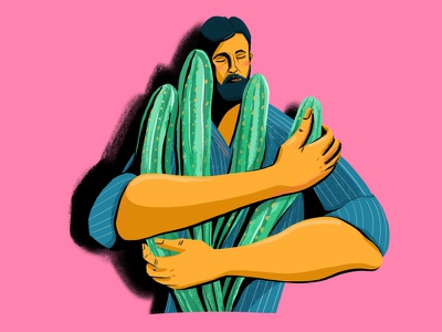 Cactus lover people plant cactus man illustration