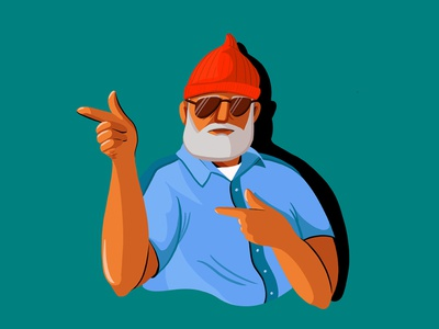 Steve Zissou from The Life Aquatic digital illustration movie character people steve zissou character illustration