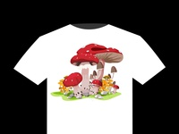 Mushroom T Shirt Design Vector 01