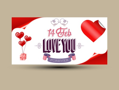Happy valentines day banner design template