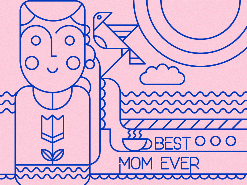 Best mom ever (Illustration to my Mommy) 2d guides identity animation concept construction flat abstract character geometric brand-design branding logo graphic vector art designer graphic-design illustration design