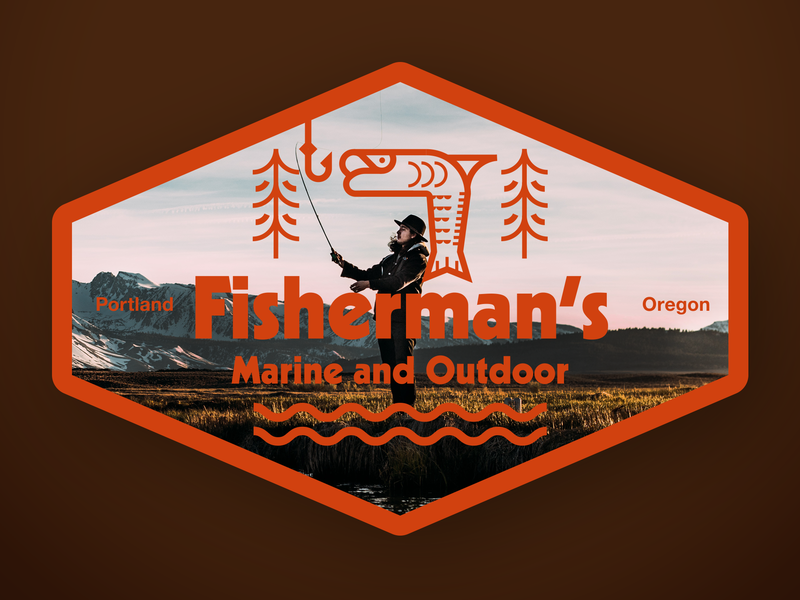 Fisherman's Badge minimal guides character concept geometric abstract mark flat identity logomark illustration art vector graphic designer brand-design graphic-design branding logo design