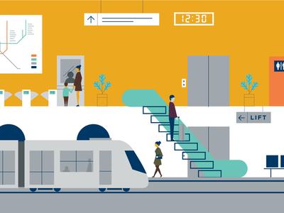 Metro station - Carriall Backpack Film Illustration