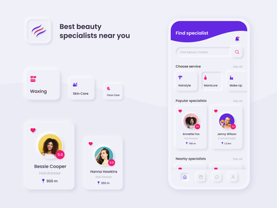 Beauty services booking app application design neumorphism ui neumorphic design neumorphism neumorph ux uiux mobile ui mobile app design mobile app mobile ui