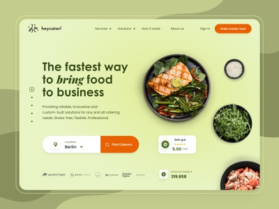 Heycater Website Design food delivery caterer catering food website design website branding figma web design ui ux concept ux ui design