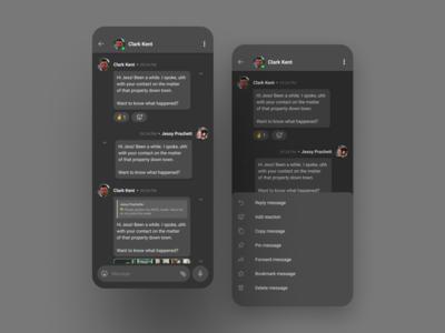 Chat screens - dark theme android app design ios figma clean minimal branding creative ux app ui design