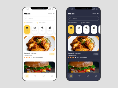 Food app screen restaurant meal foodie search recreation relaxation food and drink minimal clean round mobile figma ux ui design restaurant app food app