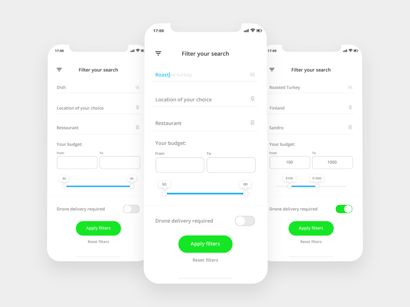 Restaurant search filter simple button product dailyui creative concept brand minimal forms design cx design thinking search filter ux ui app