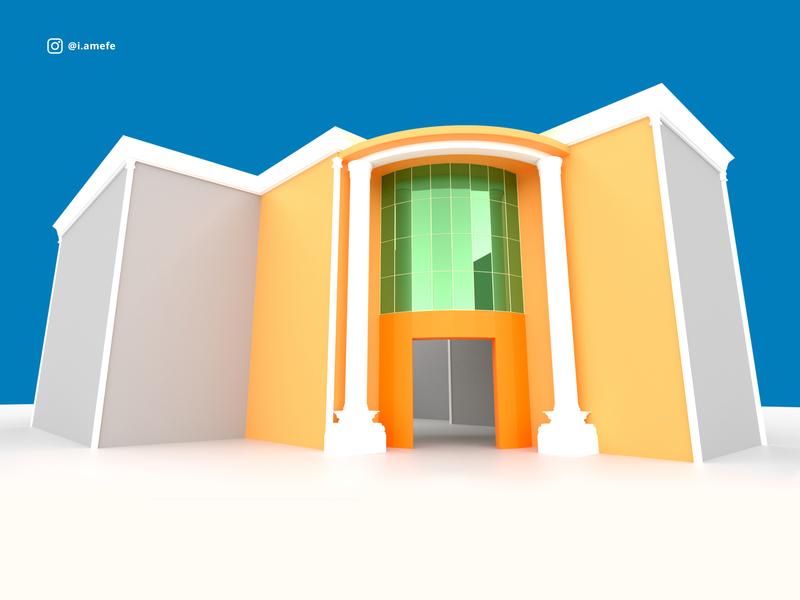 Prototype for a hotel's paint concept design texture orange modelling prototype hotel industrial design building architechture 3d