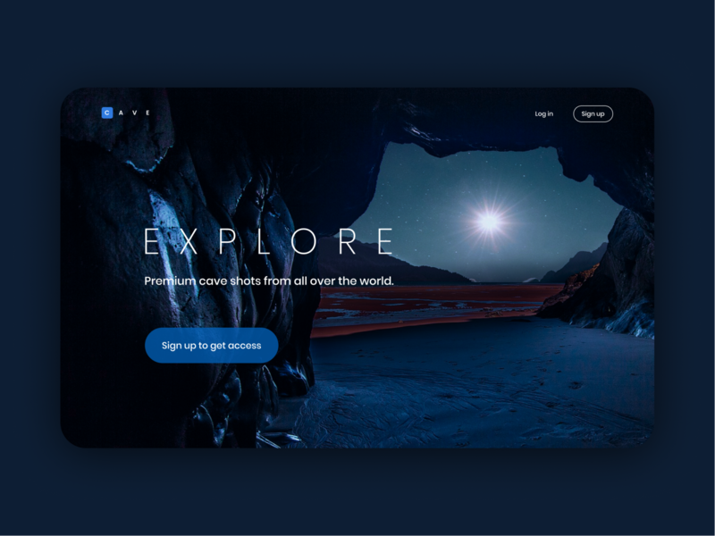 Landing page concept for a premium photo gallery caves haloween figma dark theme landing page website branding photo gallery poppins minimal typography ux ui creative app design