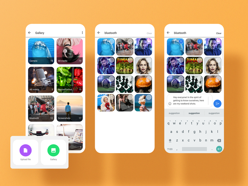 Photo gallery component for a chat app materialdesign android ios mobile clean flat uidesign dribbble 2d rounded minimal uxdesign uiux ui design gallery mobile app design