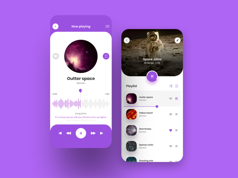 Music player app concept music player playlist purple user interface design user experience figma music app ux ui design