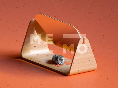 MEMO orange wood rock mirror terrazzo 3d render product