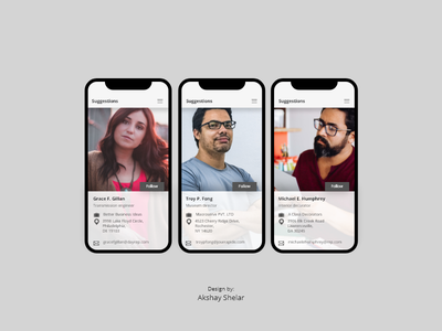 Suggestions UI for Social Media App iosui ios iphonex ux userinterface userexperience uiux ui