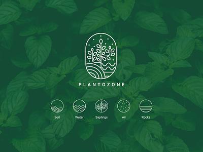PLANTOZONE (Plant+Ozone) green ozone nursery plantlogo plant design ux ui uiux icon vector illustration typography branding logo