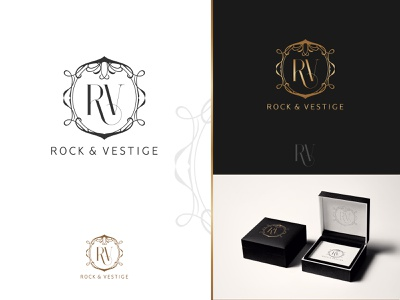 Rock & Vestige - Logo vintage art noveau antique jewellery creative decorative elegant classic art logo