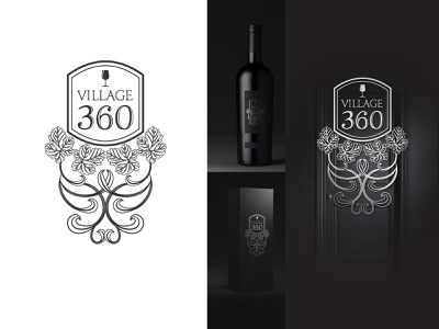 Village 360 - Logo design restaurant winery creative decorative elegant classic hand drawn logo