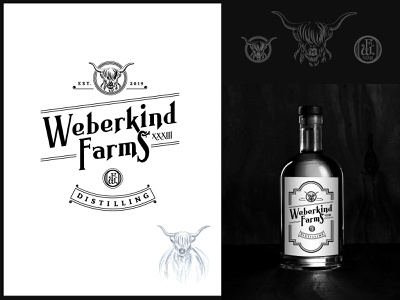 Weberkind Farms Distilling - Logo&Label brand creative iconic logo high land cow whiskey label whiskey and branding classic hand drawn logo
