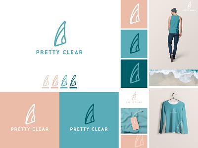 Pretty Clear - Logo & Brand fashion ocean t-shirt modern iconic logo surfing lifestyle brand hand drawn creative logo