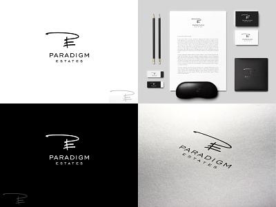Paradigm Estates - Logo elegant signature logo real estate typographic handwritten logo